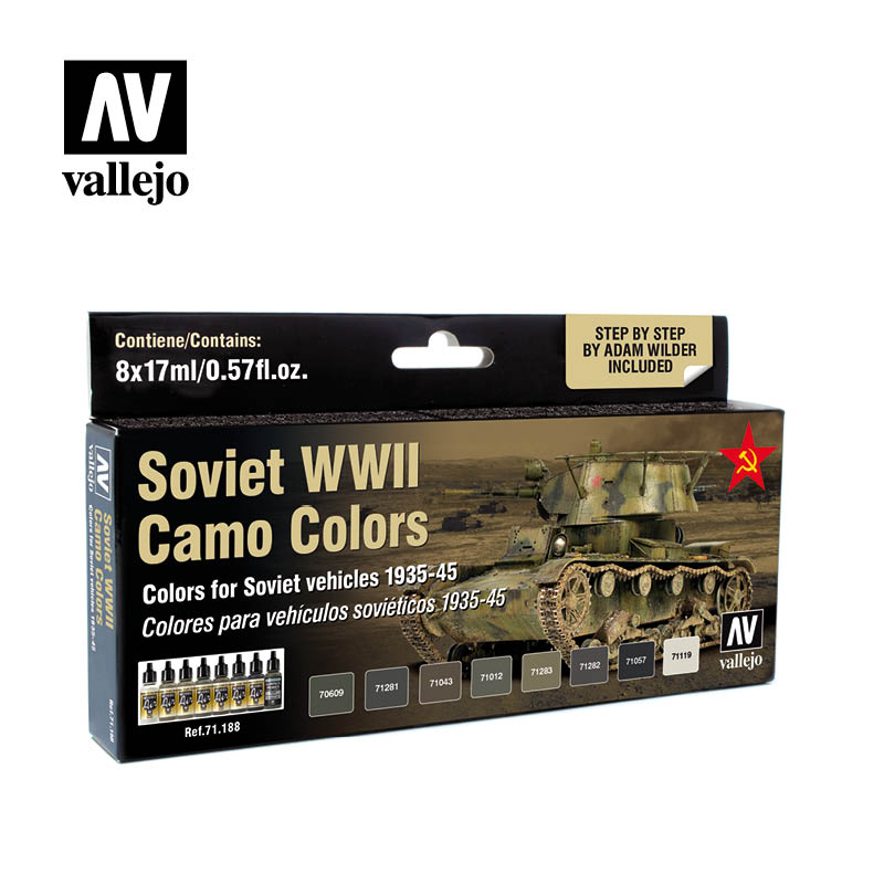 71.188 Soviet WWII Camo Colors (8) - Vallejo Model Air Set