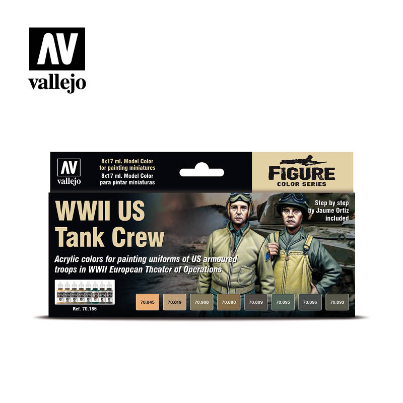 70.186 WWII US Tank Crew (8) - Vallejo Model Color Set