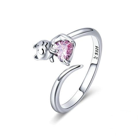 Silver Cat Ring  <br/> Adorable Cat Pink - The Cat Paradise