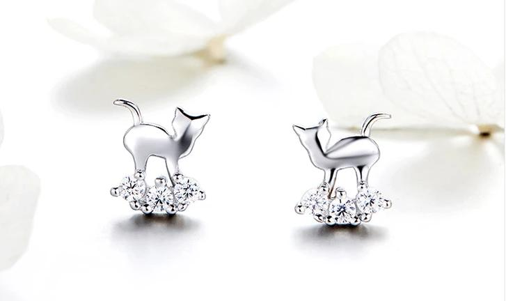 Silver Cat Earrings <br/> Crystal Cat - The Cat Paradise