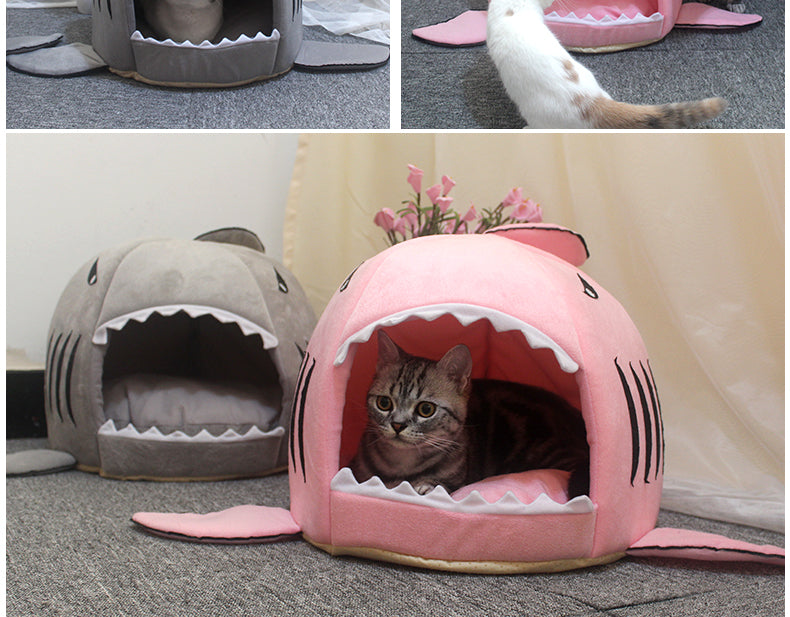 shark cat bed tiger