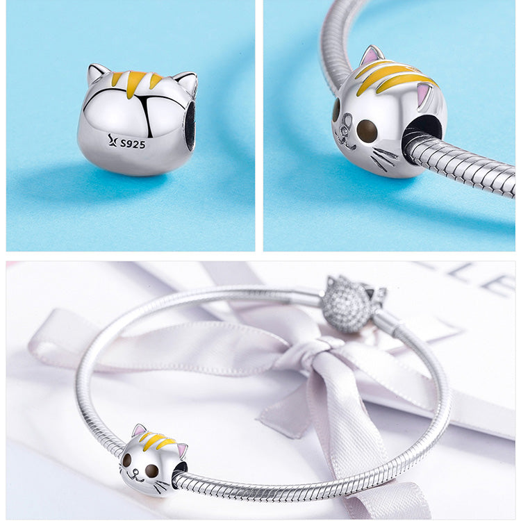 Silver Cat Charm <br/> Baby Kitty Cat - The Cat Paradise