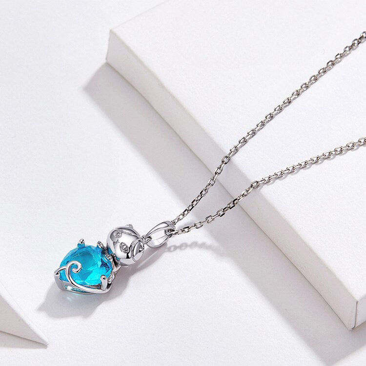 Silver Cat Necklace <br> Cat with blue heart - The Cat Paradise