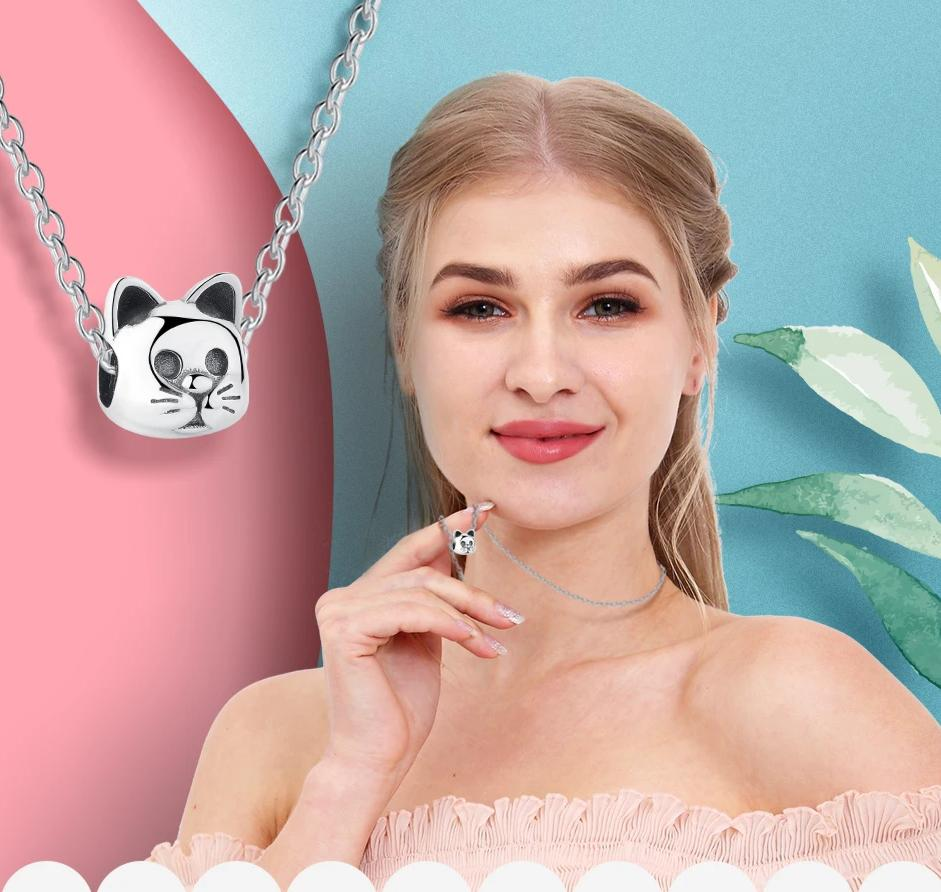 Silver Cat Charm <br> Curious Cat - The Cat Paradise