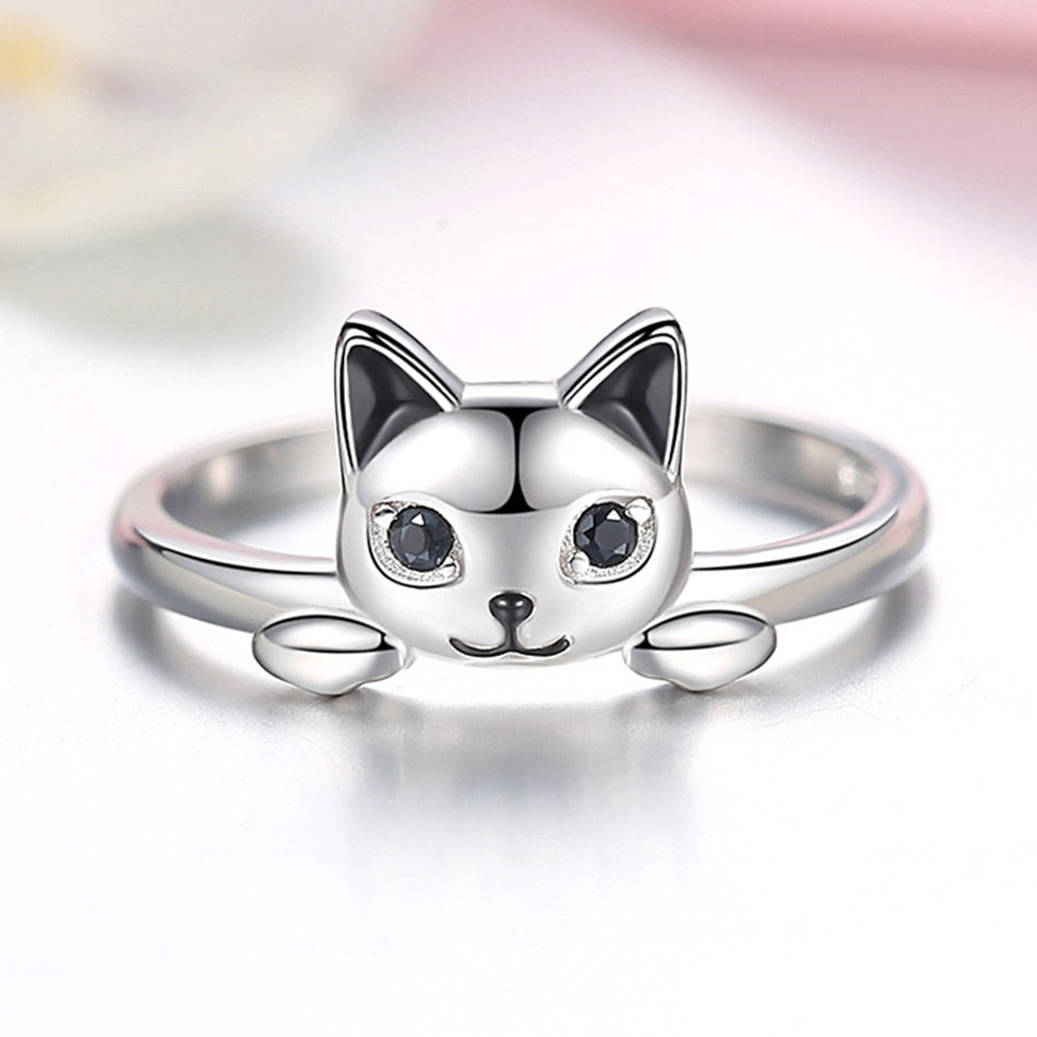 Silver Cat Ring <br> Cute Cat - The Cat Paradise