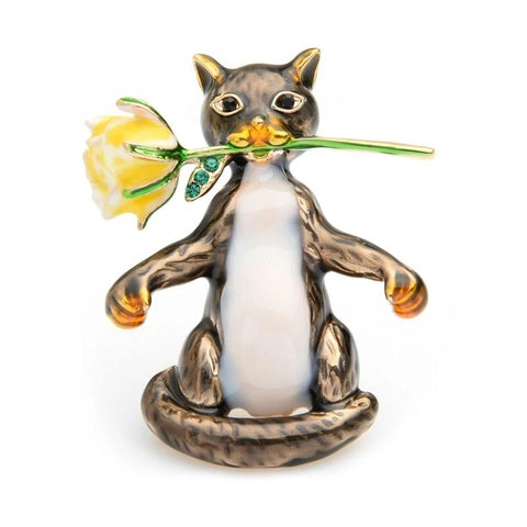 Cat Brooch - Cat with Rose Flower