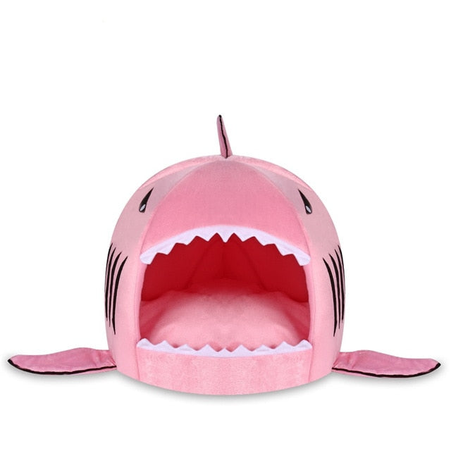 pink shark cat bed