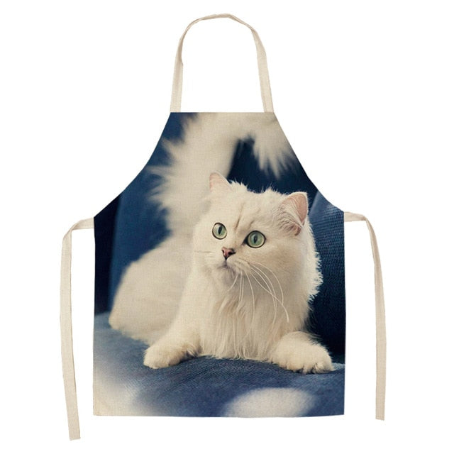 Cat Apron <br> White cat watching - The Cat Paradise