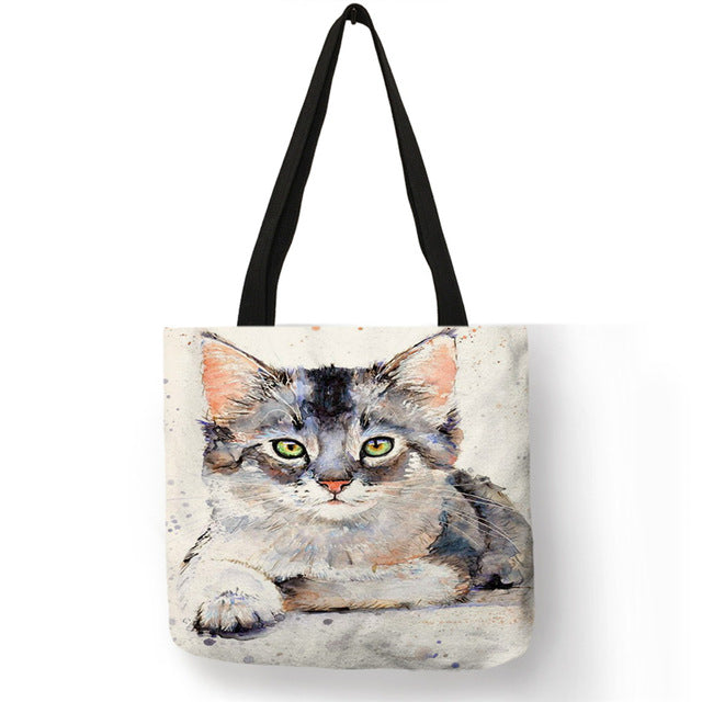 Cat Tote Bag - Grey and white kitten