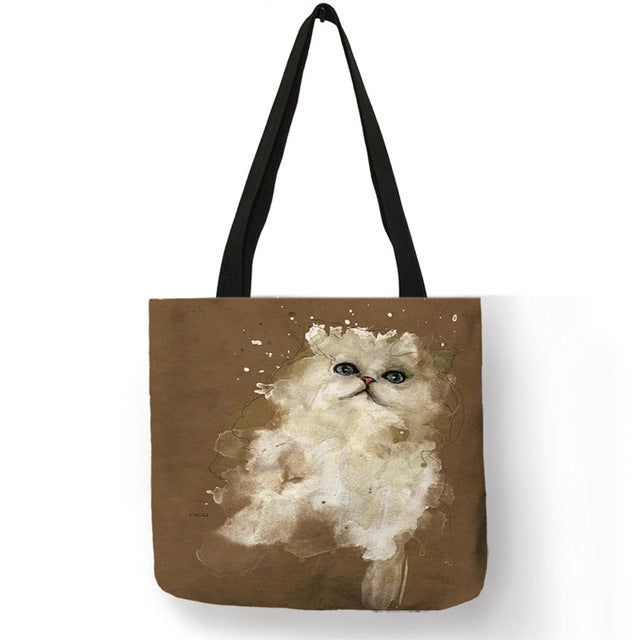 Cat Tote Bag - White painted cat - The Cat Paradise