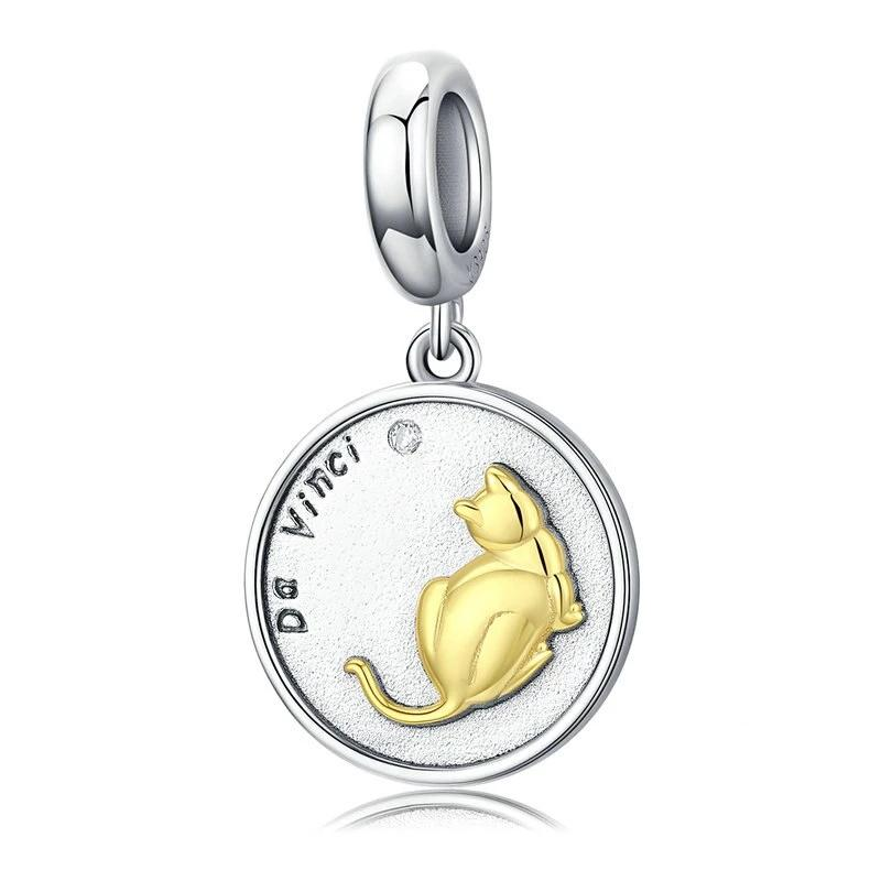 Silver Cat Charm <br> Cute Cat Round Pendant - The Cat Paradise