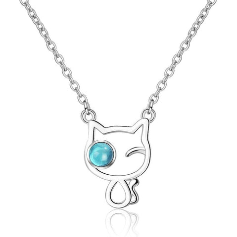 Silver Cat Necklace <br> Blue Eye - The Cat Paradise