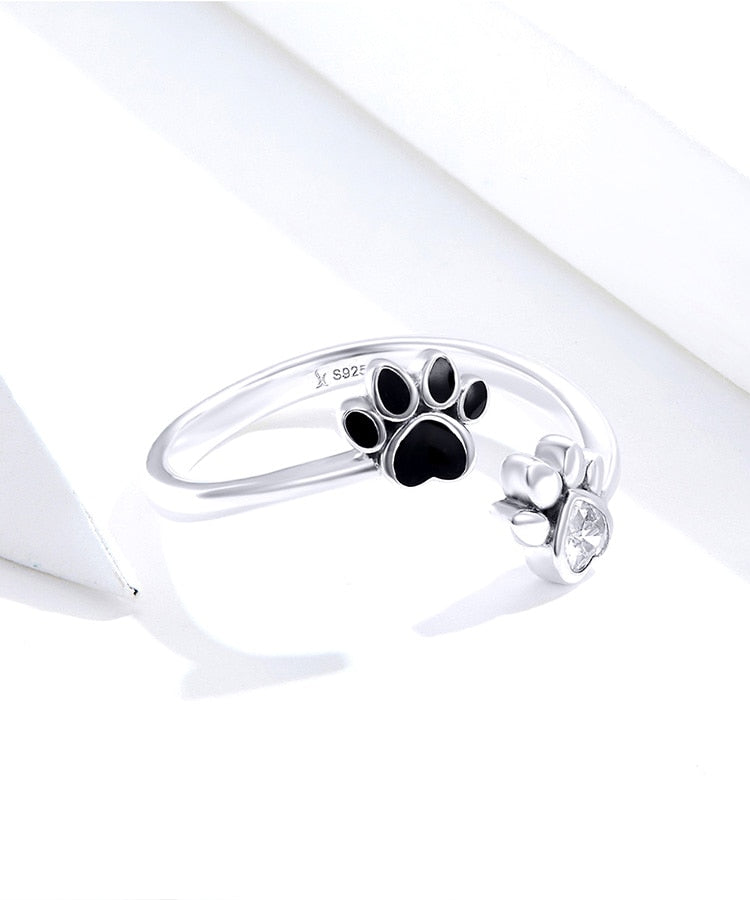 Silver Cat Ring <br> Cat Footprints - The Cat Paradise