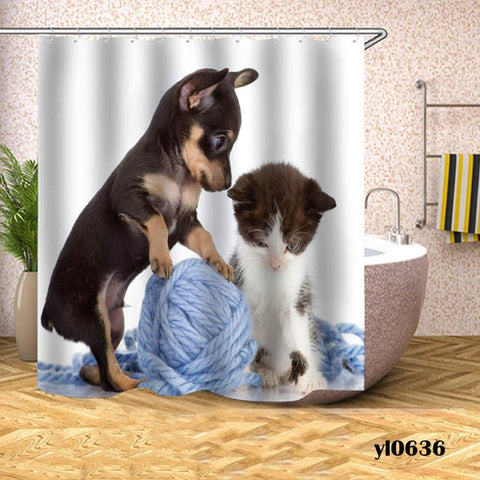 Kitten and Puppy Cat Shower Curtain