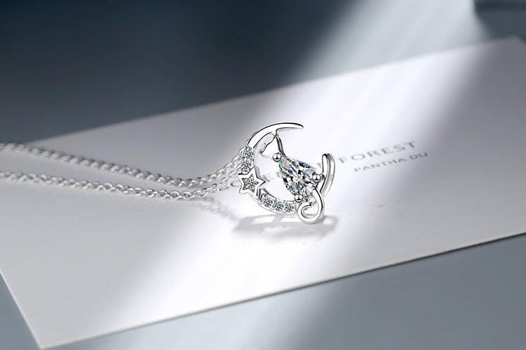 Silver Cat on the moon necklace - The Cat Paradise