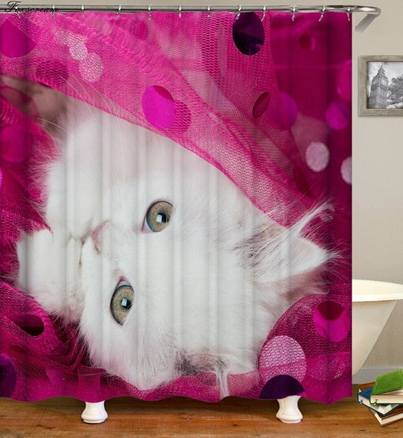 Pink Cat Shower Curtain