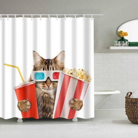 Movie Cat Shower Curtain