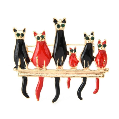 Cat Brooch - Perched Cats