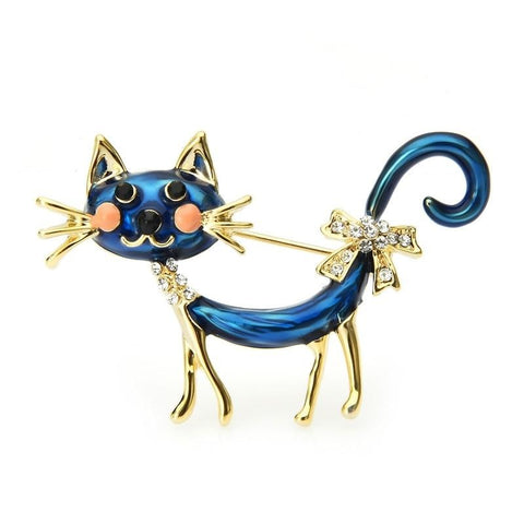 Cat Brooch - Long blue cat