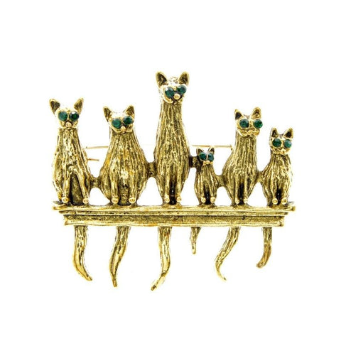 Cat Brooch - Group cat