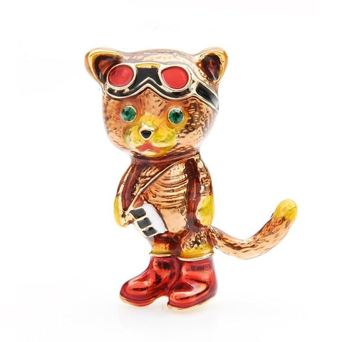 Cat Brooch - Aviator cat