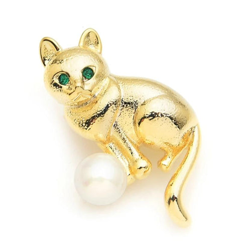 Cat Brooch - Gold Color