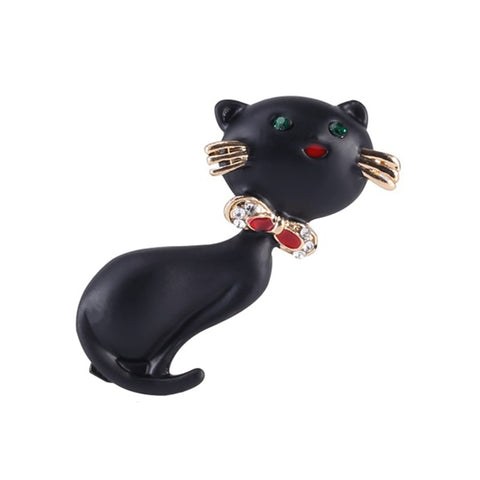 Cat Brooch - Black cat with golden mustache