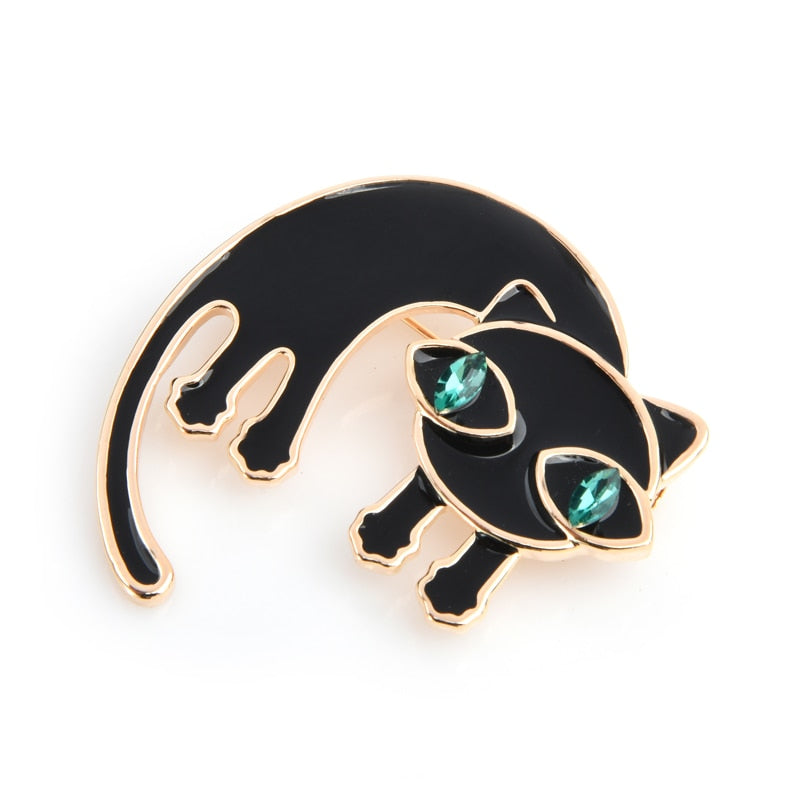 Cat Brooch <br> Surprised cat with green eyes