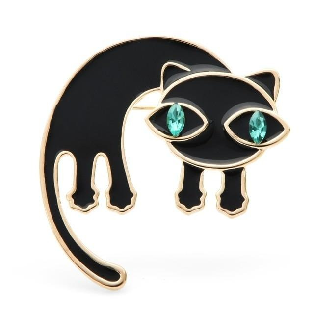Cat Brooch - Surprised cat with green eyes