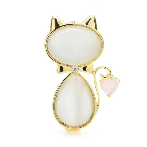 Cat Brooch - Opal Cat