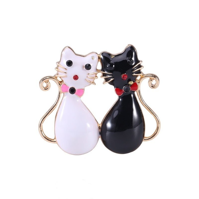 Cat Brooch - Black & White Cats