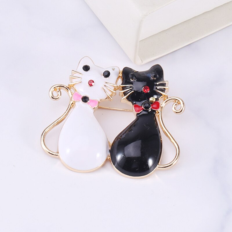 Cat Brooch <br> Black & White Cats