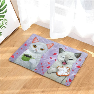 Cat Mat <br>  Two Cats Eating Breakfast - The Cat Paradise