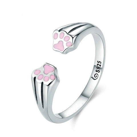 Silver cat ring <br/> Cat Footprints - The Cat Paradise