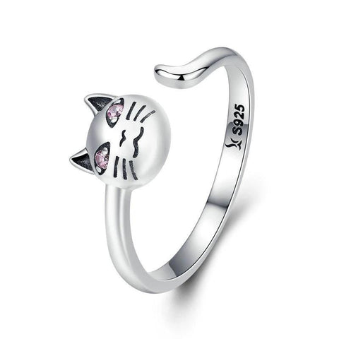 Silver Cat Ring <br> Cat with pink eyes - The Cat Paradise