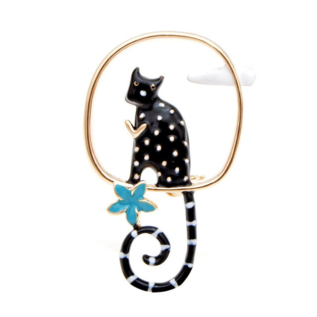 Cat Brooch - Long-tailed cat - black