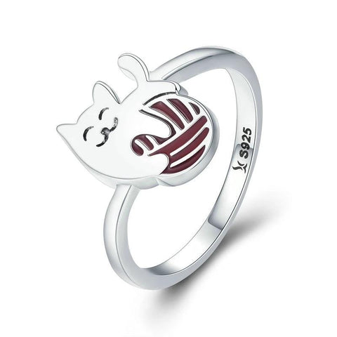Silver Cat Ring <br/> Cat with ball of wool - The Cat Paradise