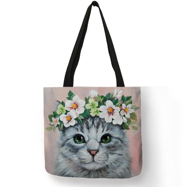 Cat Tote Bag <br> Cat with white flower crown - The Cat Paradise