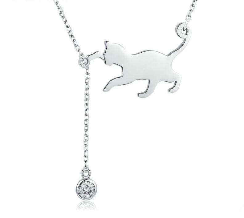 Silver Cat Necklace <br> Cat catching a wool ball - The Cat Paradise