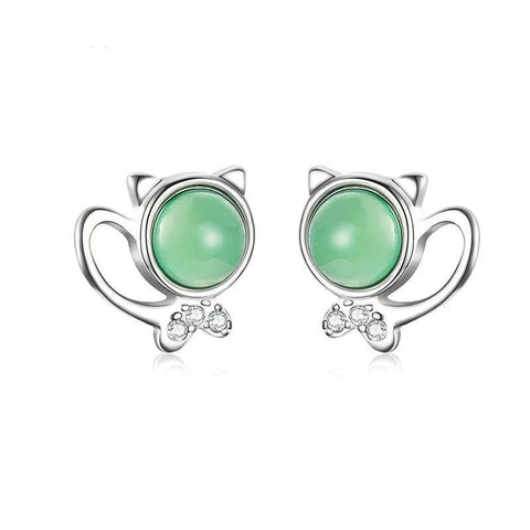 Silver Cat Earrings <br/> Green Stone Kitty - The Cat Paradise