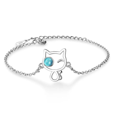 Silver Cat Bracelet - Cat with blue eye | The Cat Paradise