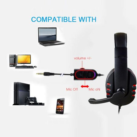Gaming Headset Voice Control Wired HI-FI Sound Quality For PS4 (Black+Red) - Retailopolis