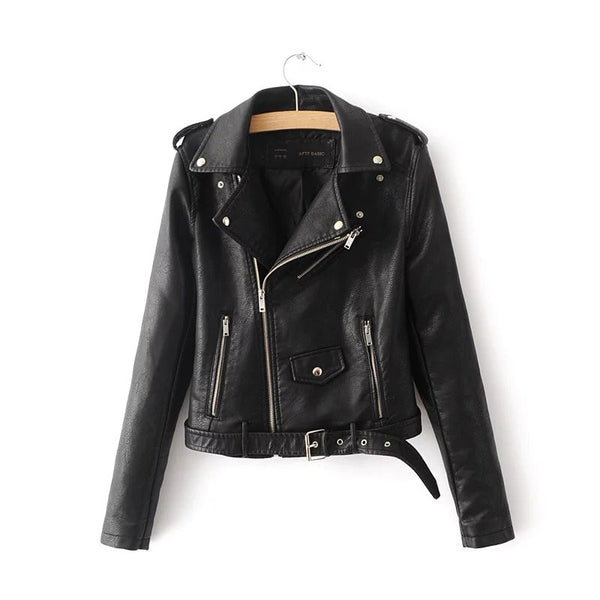 Women's Faux Leather Jacket with Zippers