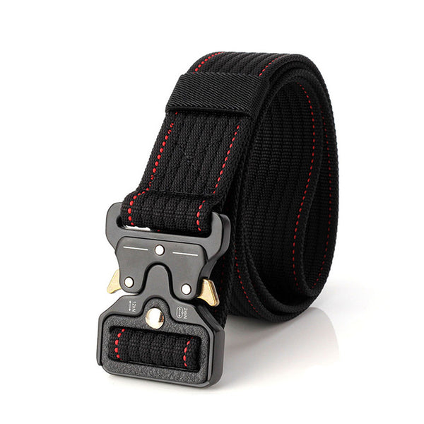 Adjustable Nylon Tactical Military Belt with Quick Release and Heavy Duty Metal Buckle