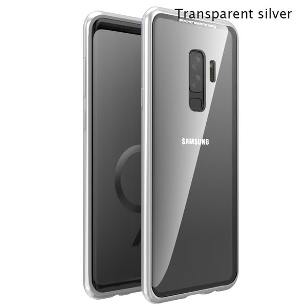 Samsung S9/S8/S7/Note9 Magnetic Adsorption Flip Tempered Glass Metal Case - Retailopolis