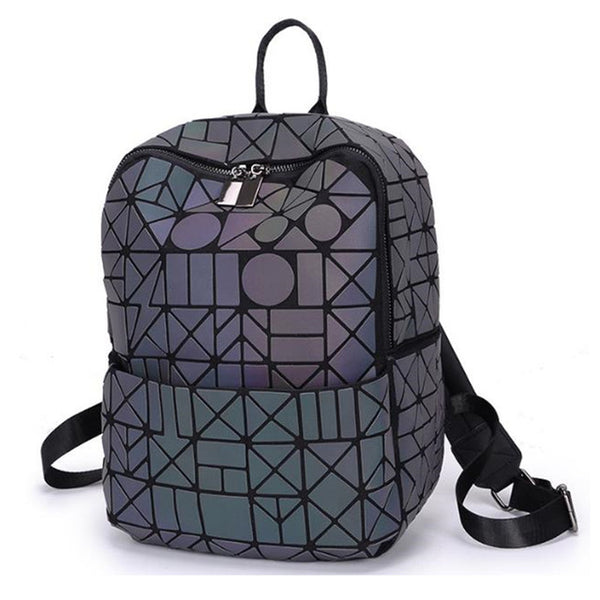 Holographic/Luminous Geometric Diamond Backpack