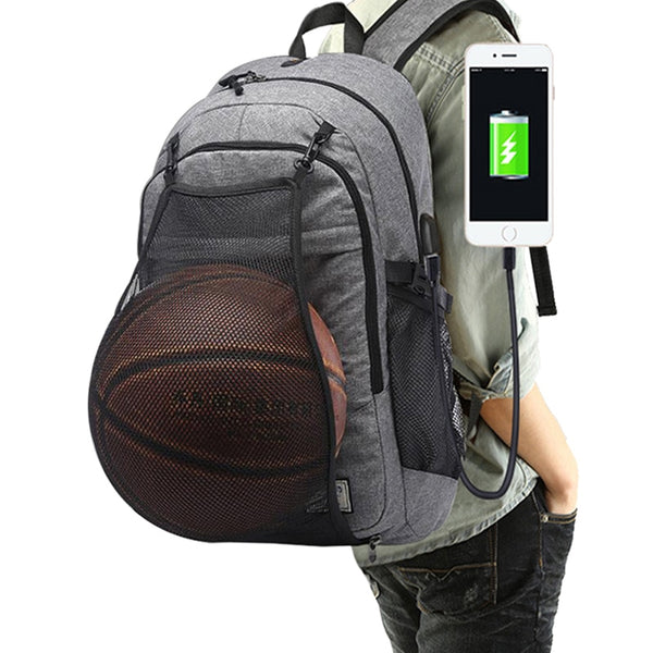 Trendy Laptop/School/Traveling Backpack with Extendable Basketball/FootballSoccer Ball Net - Retailopolis