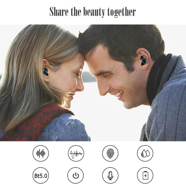 Wireless Bluetooth 5.0 Earphone Waterproof Noise Reduction Earbuds with Charging Case - Retailopolis