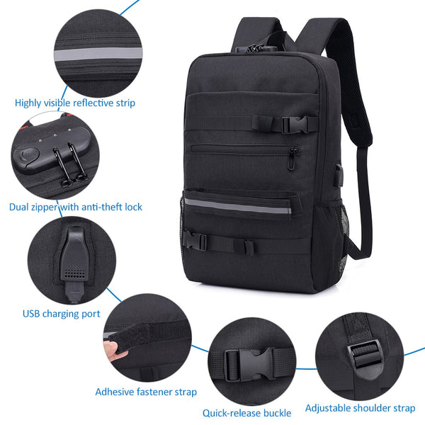Anti-theft Backpack with Lock, USB Port, Skateboard, and Laptop Slot - Retailopolis