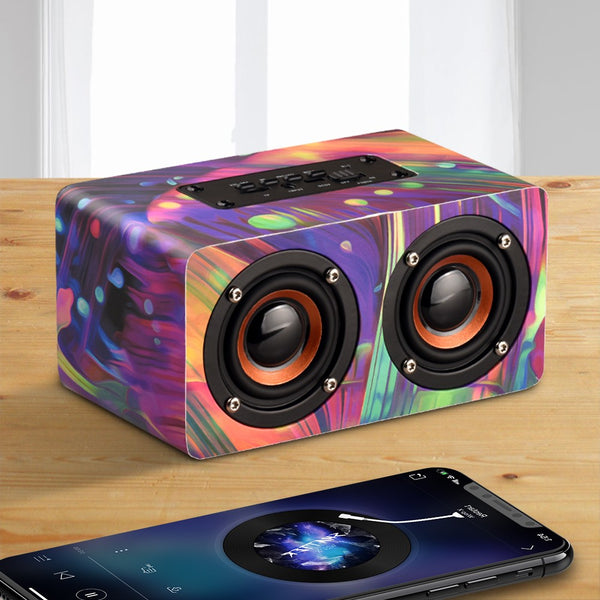 Wooden Bluetooth Portable Loudspeaker (Dual Subwoofer Bass, FM Radio, Built-in Mic) - Retailopolis